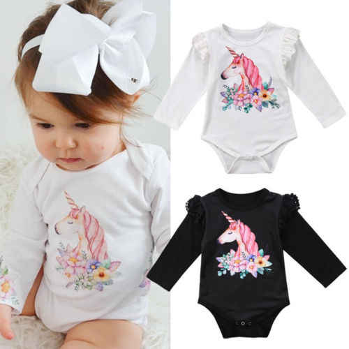 1136a30773d3 Detail Feedback Questions about Cute Infant Baby Girls Long Sleeve Unicorn  Bodysuit Jumpsuit Outfits Set on Aliexpress.com