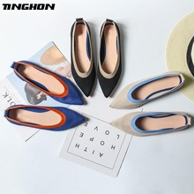 TINGHON New Spring Women Flats Shoes Mixed Colors Print Women Shoes Casual Single Shoes Ballerina Women Shallow Mouth Shoes candy colors women flats shoes low shallow mouth loafers work shoes pregnant women shoes large size 42 women casual shoes