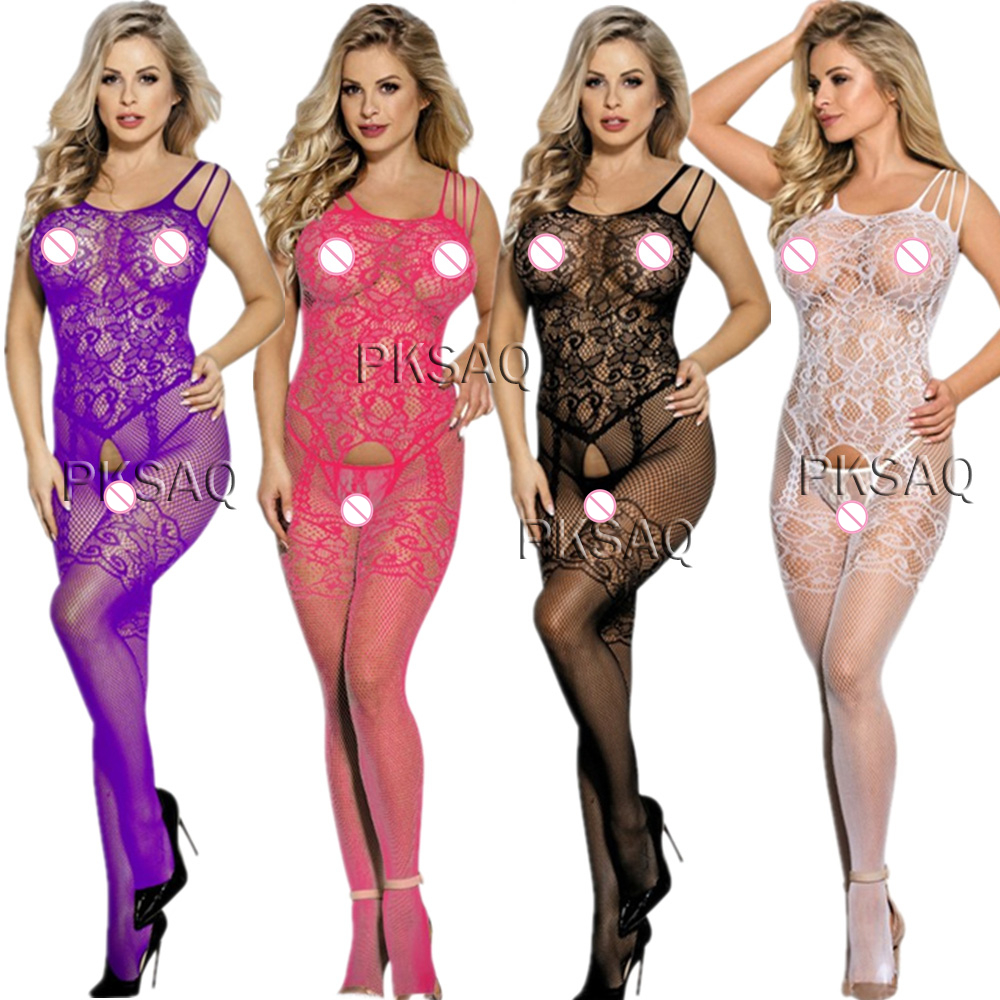 Sexy Open Crotch Fishnet Bodystocking Erotic Lingerie Underwear Body Suits Crotchless Babydoll Porno Sleeveless Body Stocking A7