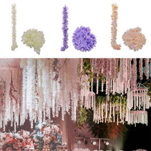 1M Artificial Silk Hydrangea Wisteria Flower String DIY Simulation Wedding Arch Square Rattan Wall Hanging Basket Decor