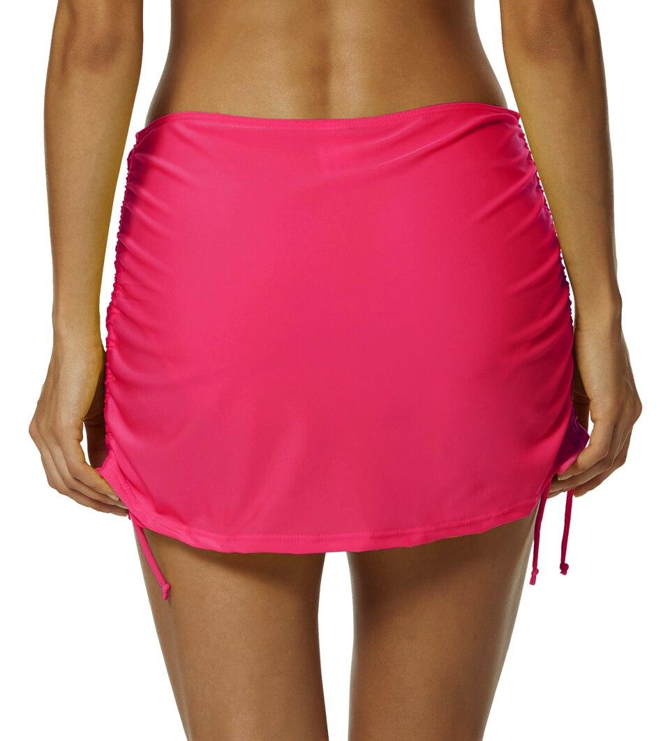 f89123a4b5181 Bonverano(TM) Women's Solid Rouched Adjustable Sides Swim Skirt Rose Bikini  Swimwear Beach Dress Bottom