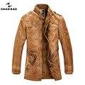 Мужской бренд дизайнер кожаная куртка личность более кнопки зима плюс толстый бархат шуба теплый ИСКУССТВЕННАЯ кожа серый коричневый куртка