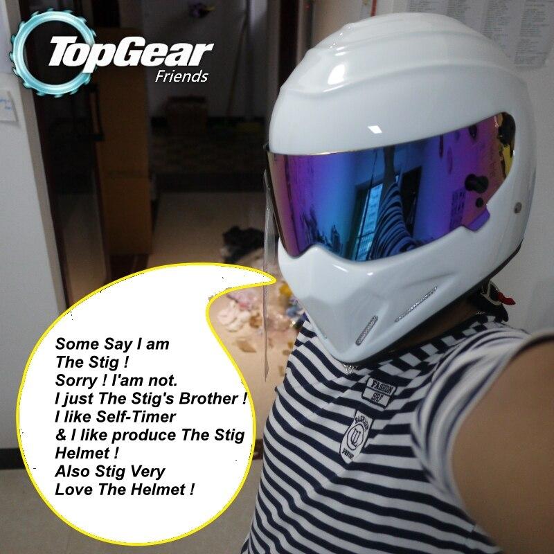 Для TopGear шлем Стига Capacete Casco De/Bag + наклейка Simpson для подарков/белый мотоциклетный шлем с красочным козырьком Racing - 2