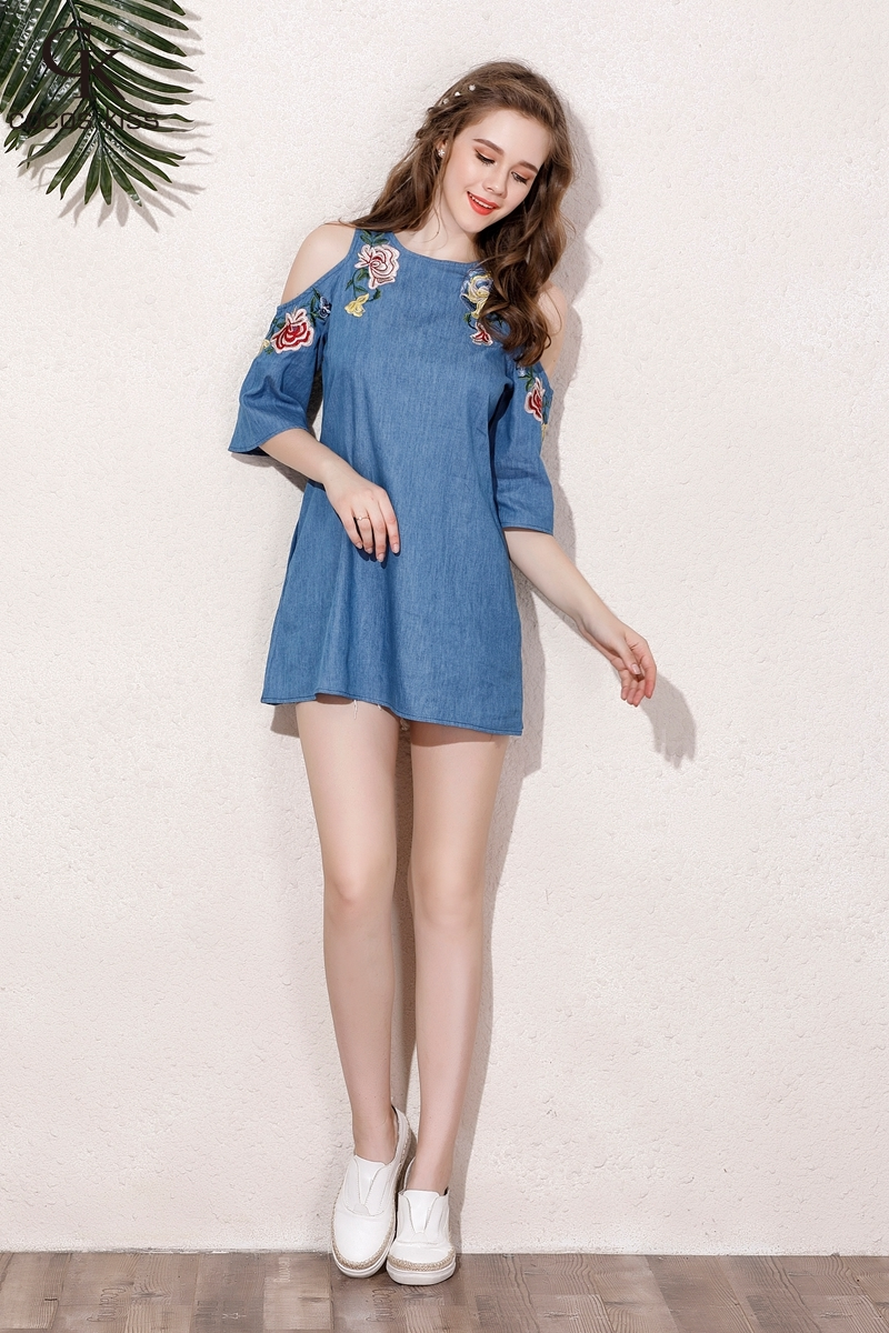 2017 New Fashion Cute Womens Mini Dresses Denim Embroidery Flower Casual Preppy Sytle Girs Sexy Off-the-shoulder ladies Dress