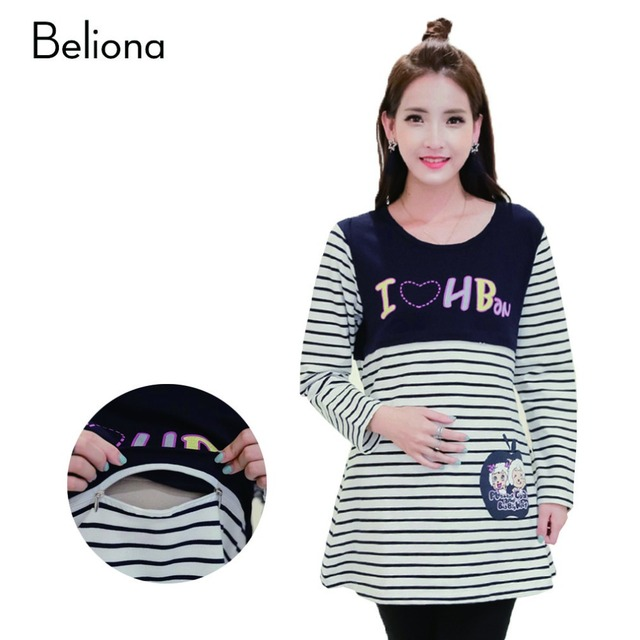 Fall Winter Nursing Clothes Breastfeeding Tops Clothing for Feeding Maternity Wear T Shirts Long Sleeve Pregnancy Tee Shirt