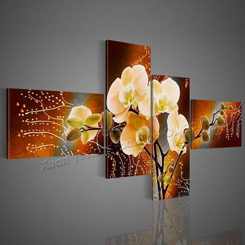 4 панели Современная расписанную цветок картина маслом абстрактная картина ручной работы Куадрос Wall Art Декор для дома для гостиной без рамк...