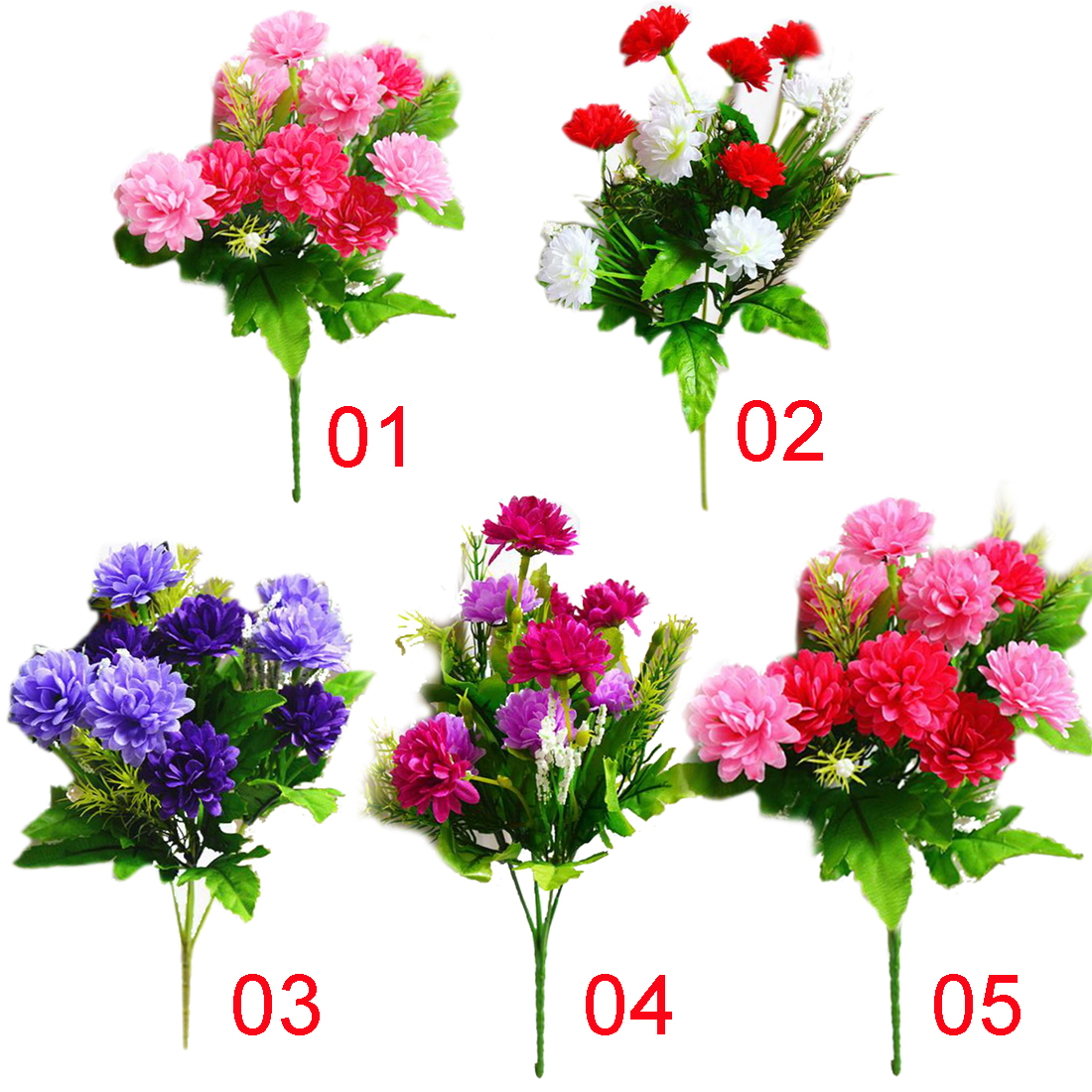 Valentines Day Gift Artificial Carnations Flowers 5 Branches 10