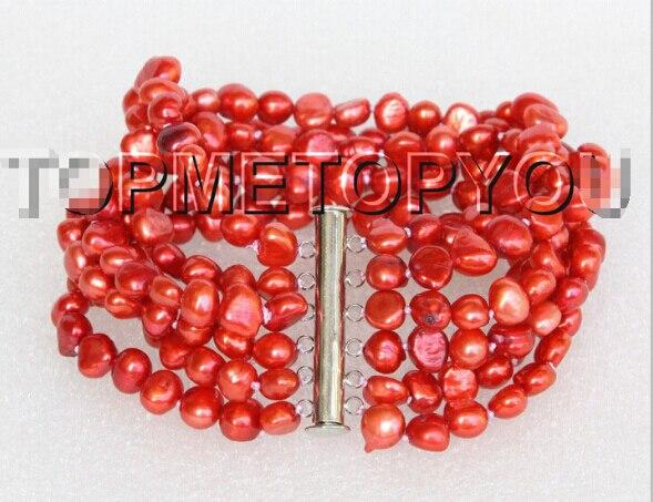 "DYY 914+++Genuine 8"" 8mm 6row Baroque red pearls bracelet"