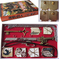 HOT Anime Attack on Titan 6 Badges & 1 Sword & 1 Key Set Pendant Keychain Gift Toy Cosplay Prop