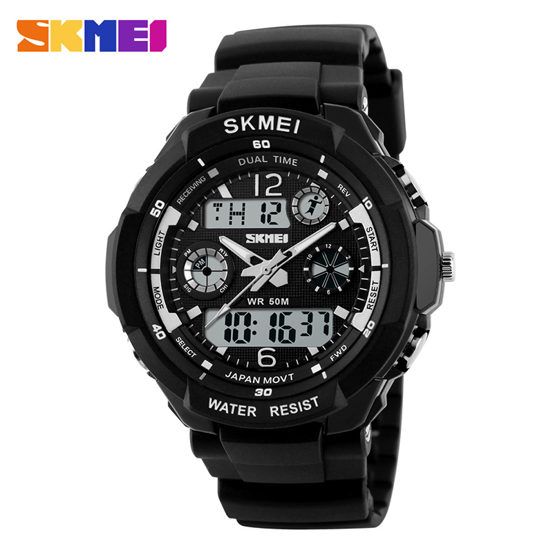 SKMEI Dual Display Jam Digital Chronograph LED Sport Watches PU Strap Waterproof Mode Jam Tangan Relogio Masculino 1060