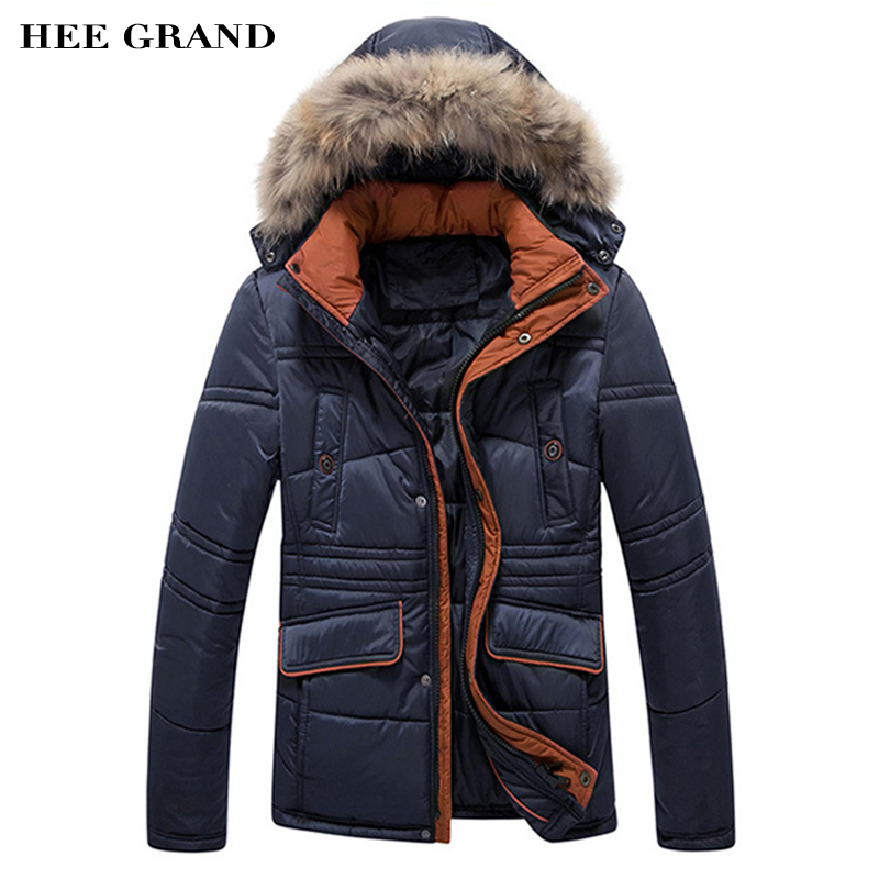 ФОТО HEE GRAND Men's Winter Jacket & Coat 2017 New Arrival Casual Thick With Hooded M-XXXL Size 2 Colors MWM1083