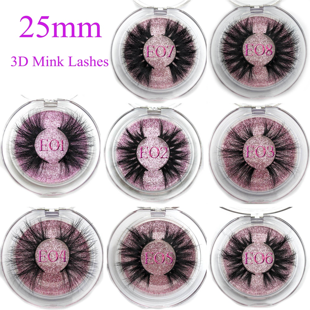 Mikiwi 25mm False Eyelashes Wholesale Thick Strip 25mm 3D Mink Lashes Custom Packaging Label Makeup Dramatic Long Mink Lashes