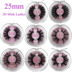 Mikiwi 25mm False Eyelashes Wholesale Thick Strip 25mm 3D Mink Lashes Custom Packaging Label Makeup Dramatic Long Mink Lashes(China)