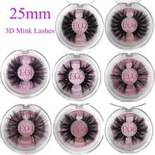 Mikiwi 25mm pestañas postizas venta al por mayor tira gruesa 25mm pestañas de visón 3D embalaje personalizado etiqueta maquillaje largo visón las pestañas