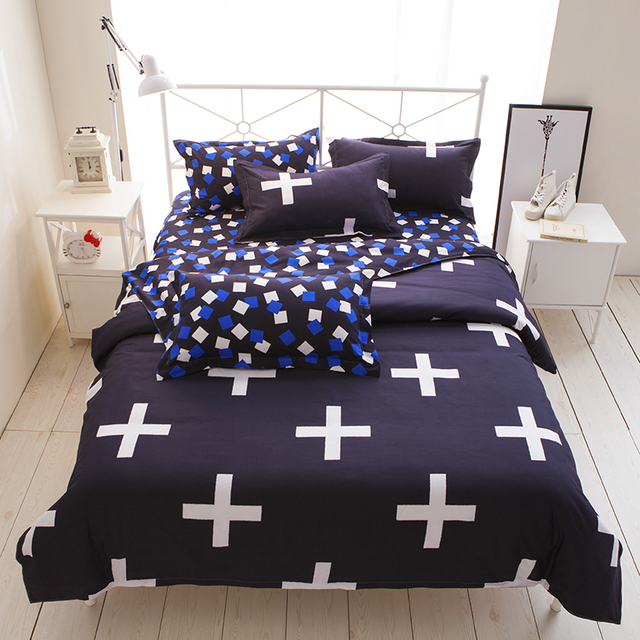 Black White Cross Print Men S Duvet Cover Sets Queen Size Euorpean Style Modern City Man Bedding Sheet Twin