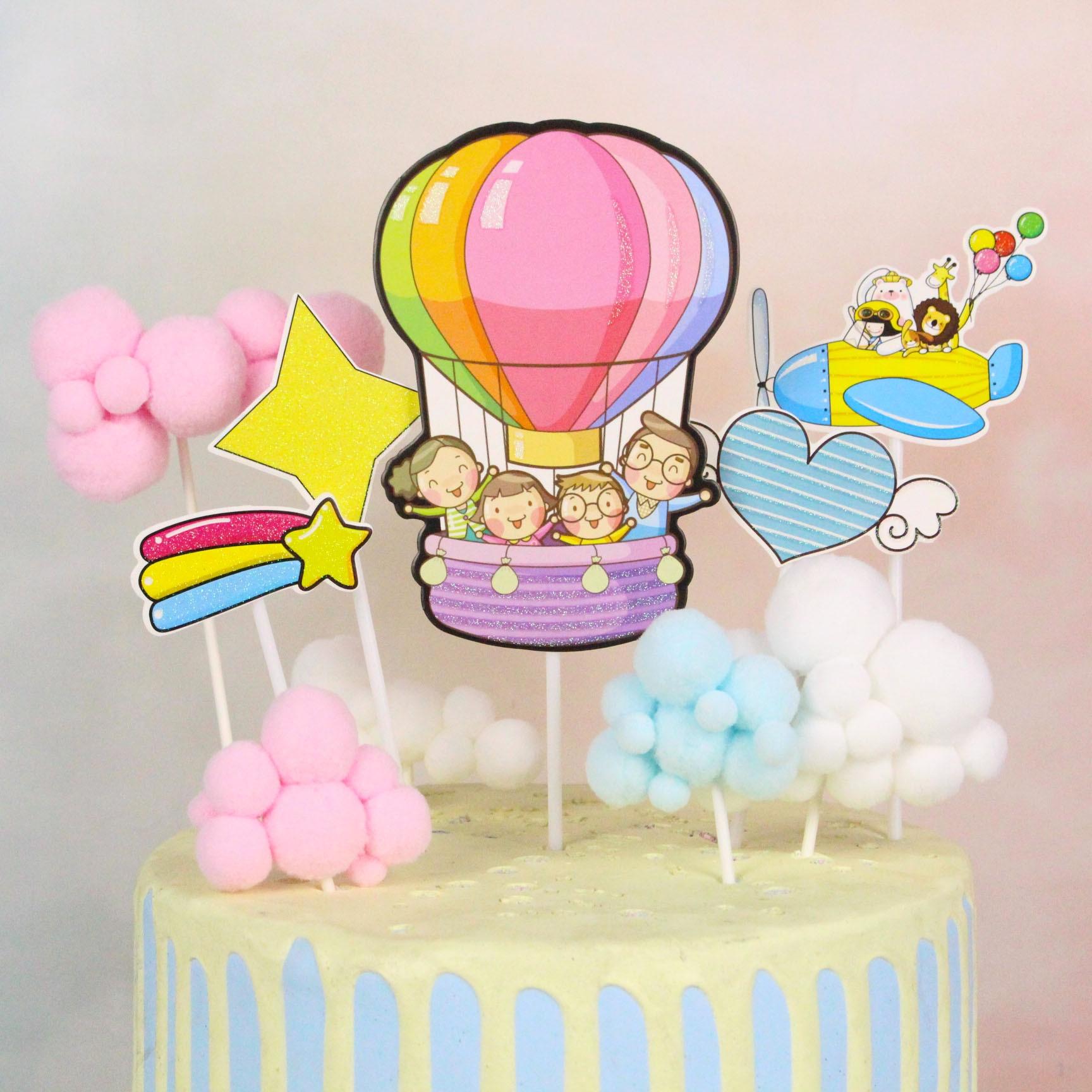 Enjoyable Happy Birthday Cake Topper Flags Hot Air Balloon Cloud Fish Cake Funny Birthday Cards Online Necthendildamsfinfo