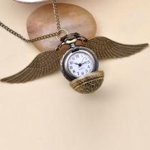 Модные ювелирные изделия Винтаж Шарм hp Snitch крылья кварцевые карманные часы ожерелье для мужчин и женщин
