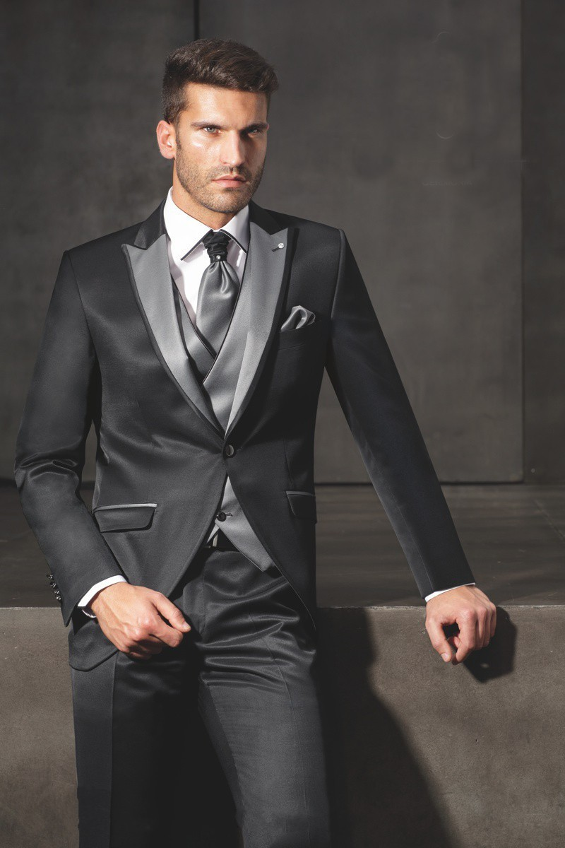2016 New Style Groom Tuxedo Black Groommen Peak Lapel Wedding / - Տղամարդկանց հագուստ