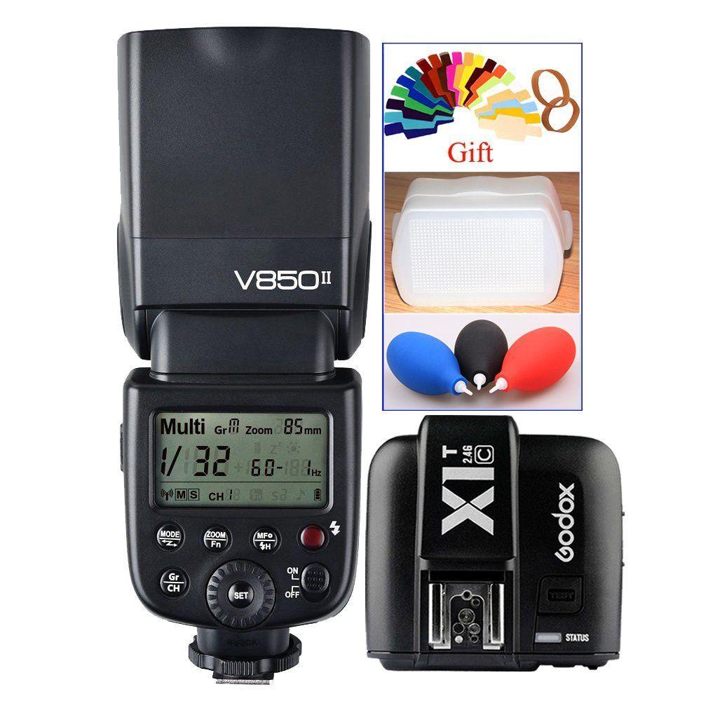 <font><b>Godox</b></font> Винг v850ii GN60 2.4 г HSS 2000 мАч Батарея Камера вспышка Speedlight + x1t-c триггера передатчик для Canon DSLR камера + подарок