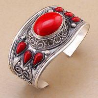 Charme Rouge Pierre De Corail Perle Bracelet Manchette Bracelet Tibet Argent Fleur ^^@^ GP GRATUITE 5.25