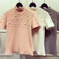 Alpha 2016 New Women Beaded T shirts Stand Collar Pearls Feminino Woman Solid Pullover T-shirt