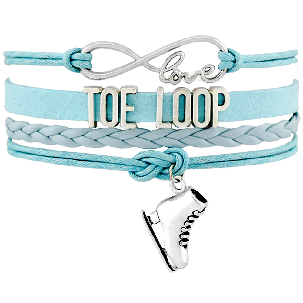 Toe Loop Flip Axel Salchow Loop Jump Lutz Figure Skating Skate Sports Infinity Charm Bracelets Women Men Girl Boy Unisex Jewelry