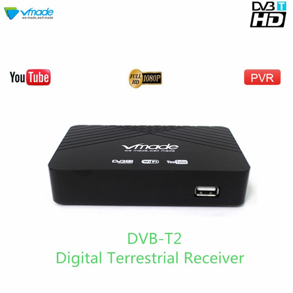 Vmade 2019 Hot Sale HD 1080P TV Tuner DVB-T2/T Digital Terrestrial Receiver Set-Top Box Support H.264 MPEG-2/4 Youtube PVR