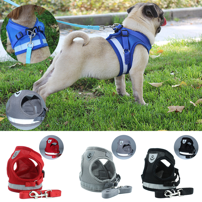 Pet Breathable Adjustable Mesh Harness Small Dog Cat Leash Collars Puppy Vest