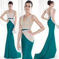 New Collection celebrity dresses 2016 Prom Gown Sheer Nude Tulle Long Evening Dress Turquoise Rhinestone Gown