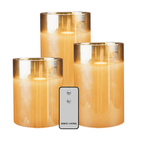 3pcs Church Led Flameless Home Wedding With Timer Gift Battery Operated Decorative Flicking Candle Light Set Romantic Glass