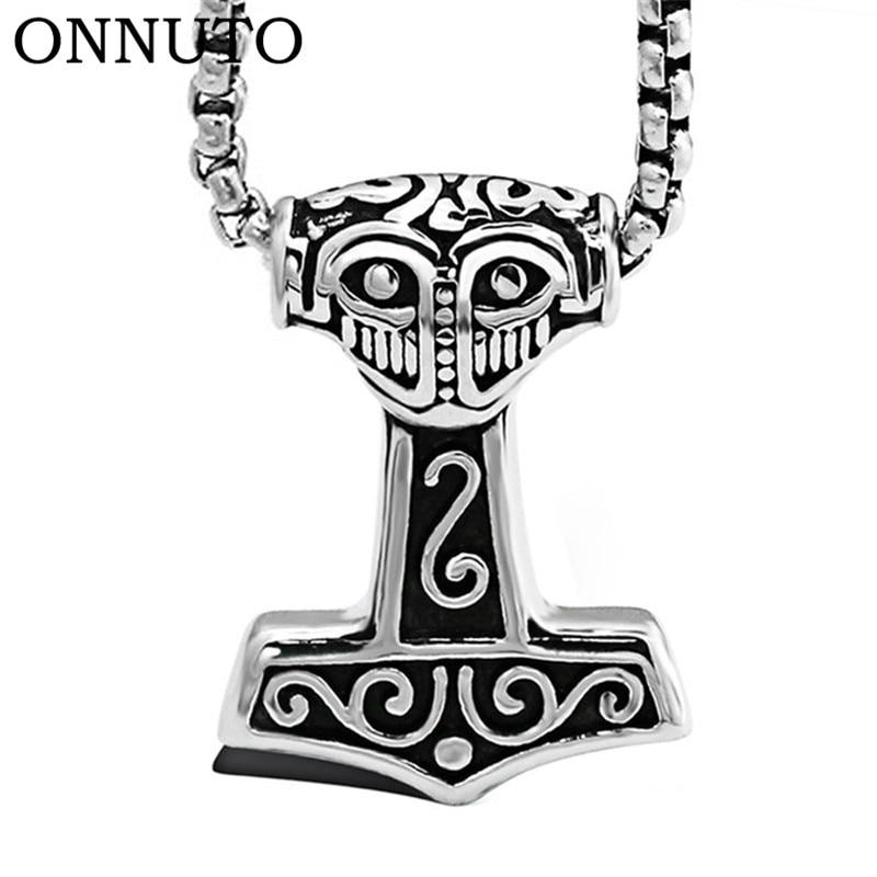 Drop ShippingStainless Steel Thor Hammer Mjolnir Choker Viking Amulet Scandinavian Pendant Necklace Norse Men Jewelry 6C0601 - intl
