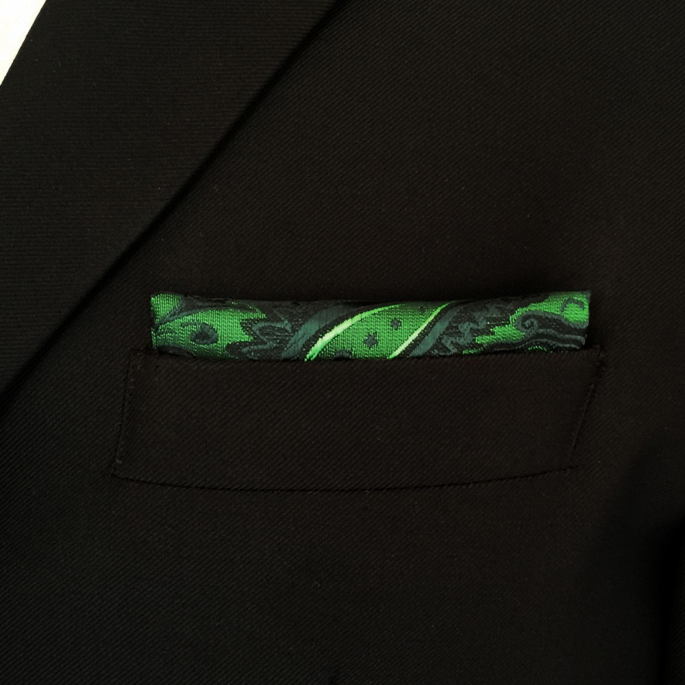 Paisley Green Batistă neagră Buzunar Mătase pătrată Mătase - Accesorii pentru haine - Fotografie 5