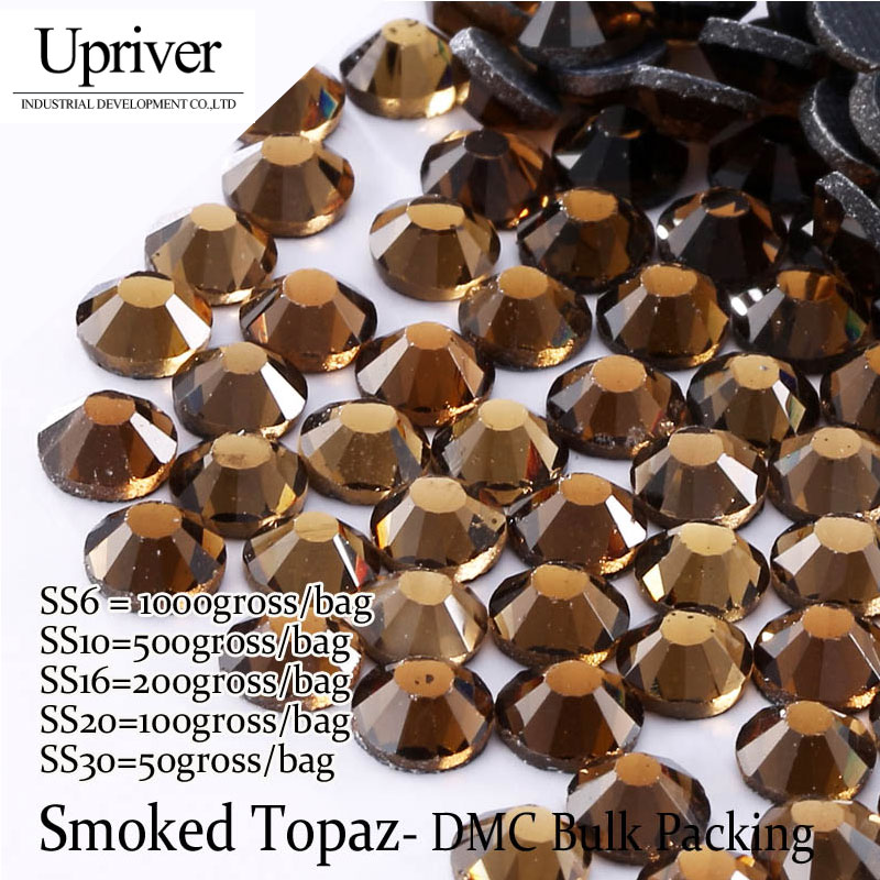 Bulk Packing High Quality More Shiny Glass SS6 SS10 SS16 SS20 SS30 Smoked  Topaz Hotfix Rhinestones 3659830d2b7c