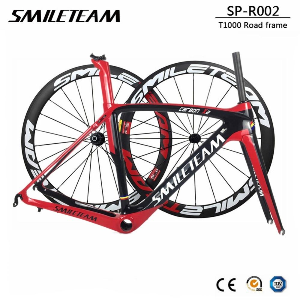 Smileteam 2018 New Full Carbon Fiber Road Bike Frame 700C Racing Bicycle Carbon Frameset With Wheelset Headset BB386 UD Glossy