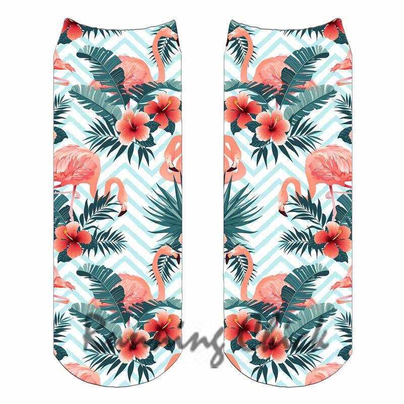 Dynamisch Flamingo Design 16 Laufende Küken Digital Print Ankle Socken Frauen 2018 Neue üBerlegene Materialien