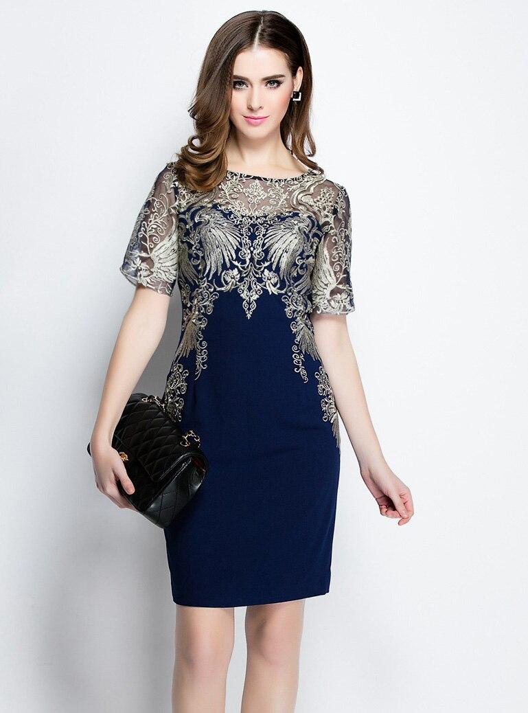 high quality 2016 new arrivals Fashion women s woman ladies elegant womens embroidery mini blue brand