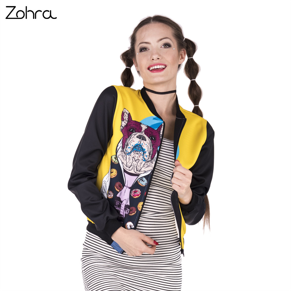 Zohra New Spring Women Bomber Jacket Miami French Dog Printing Fashion Chaquetas Mujer Outwear for Woman Basic Jackets