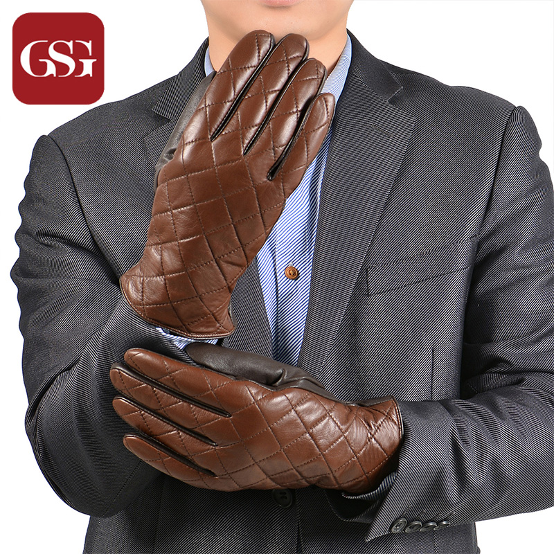 GSG Lattice <font><b>Man</b></font> Leather <font><b>Gloves</b></font> Warm Winter <font><b>Gloves</b></font> Mittens Thicken Knitted Lining Elestic Wrist Coffee Brown Driving <font><b>Gloves</b></font> Gant