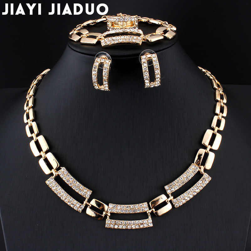 Jiayijiaduo African Bridal Jewelry Sets for Women Classic 4ps Necklace Earrings Ring Bracelet Gold Color Wedding Banquet Box