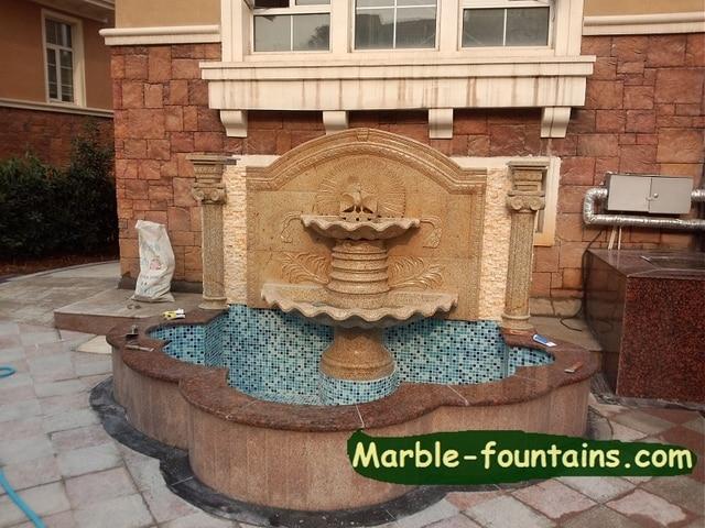 pared exterior fuentes de agua de talla de piedra con piscina surround jardn de agua decorativa