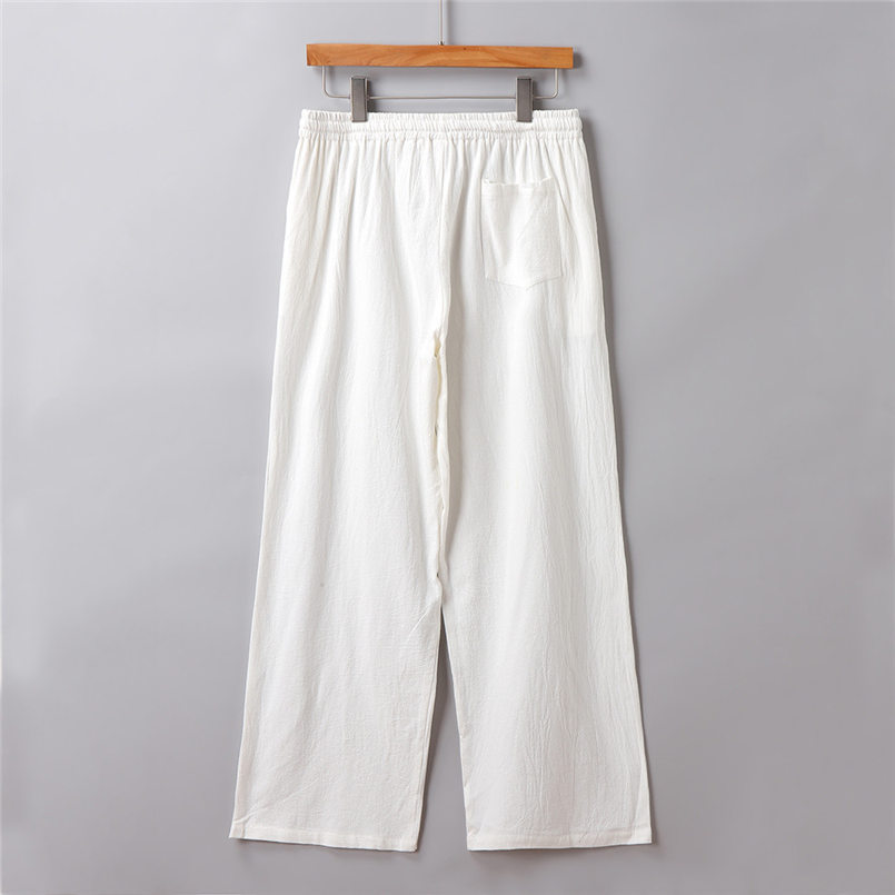 New Men Summer Fashion Trousers Linen Style Loose Casual Breathable Outdoor Solid Pants Sportswear Casual Straight Pants #4R06 (4)