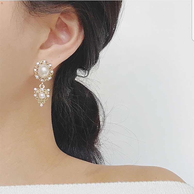 MENGJIQIAO 2019 New Vintage Metal Flower Heart Simulated Pearl Dangle Earrings For Women Fashion Party Temperament Oorbellen