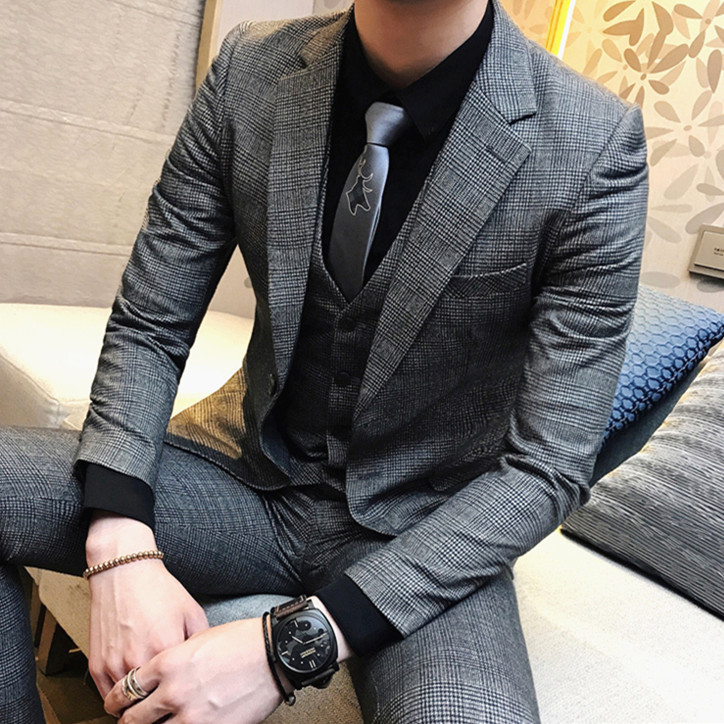 Free shipping new Autumn winter mens coffee Plaid suit Korean business small suits 3-piece set groom wedding casual suit CSMS024