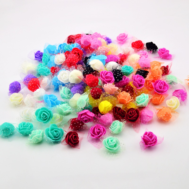 50 unids/bolsa artificial cabeza de la flor hecha a mano diy de la boda decoraci