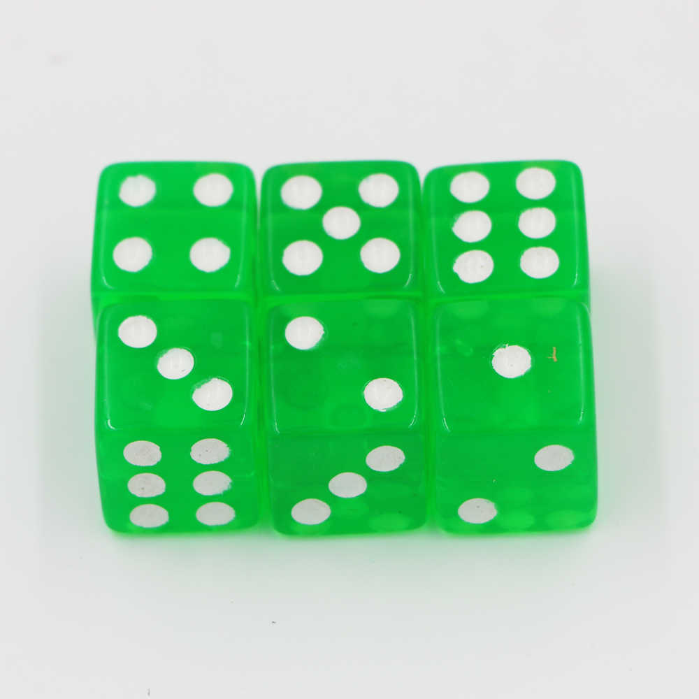 6 шт. 16 мм прозрачный зеленый акриловый кости