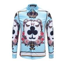 Seestern marca los hombres azules camisa impresión corona mariposa peonía  flor poker K vestido juventud moda negocios algodón to. d67732b146d