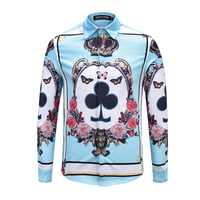 Seestern brand blue men's shirt printing crown butterfly flower peony poker K dress fashion youth business cotton tops blouse