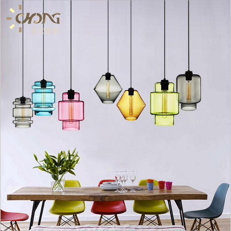 ФОТО Vintage Creative Handmade Candy Colors Crystal Glass Led E27 Pendant Light for Dining Room Bar Restaurant AC 80-265V 1365