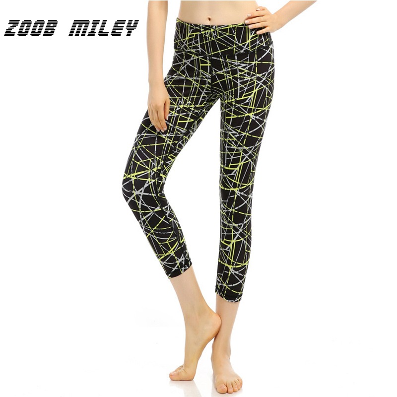 ZOOB MILEY Women Skinny Yoga Pants 3/4 Length Sports Fitness Running Compression Tights  ...