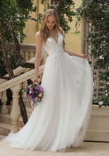 Beach Wedding Dress 2019 V Neck A-Line Appliques Beaded Bride Dress With Crystal Floor Length Wedding Gown For Girl fancy pink flower girl dress with appliques half sleeves knee length a line gown with ribbon bows for christmas 0 12 years old